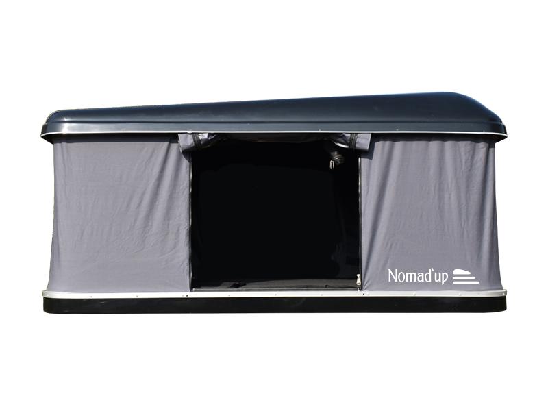 tente de toit Nomad'up de qualité, coque noir, ouverte